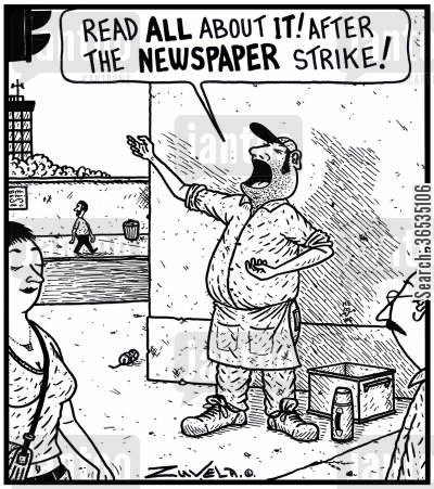 broadsheet cartoon humor: 'Read all about it! After the Newspaper Strike!'