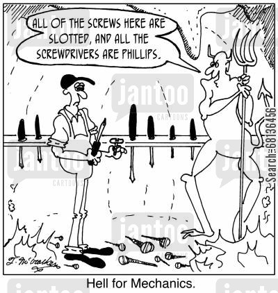 phillips screwdriver cartoon humor: 'Hell for Mechanics.' 'All of the screws here are slotted, and all the screwdrivers are Phillips.'
