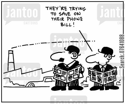 phone bills cartoon humor: 'They're trying to save on their phone bill.'