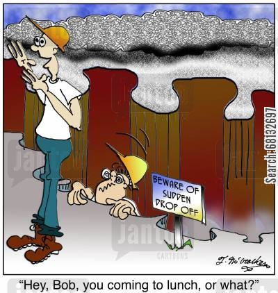 pits cartoon humor: 'Hey, Bob, you coming to lunch, or what?'