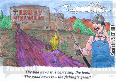 telecommunications cartoon humor: 'The bad news is, I can't stop the leak. The good news is - the fishing's great!'