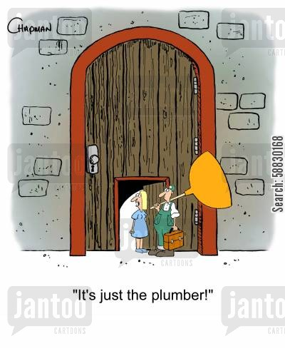 blocked toilet cartoon humor: 'It's just the plumber!'