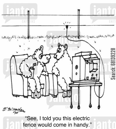 power supply cartoon humor: 'See, I told you this electric fence would come in handy.'