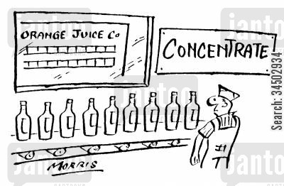 orange juice cartoon humor: Concentrate Sign Above Orange Juice Factory Line