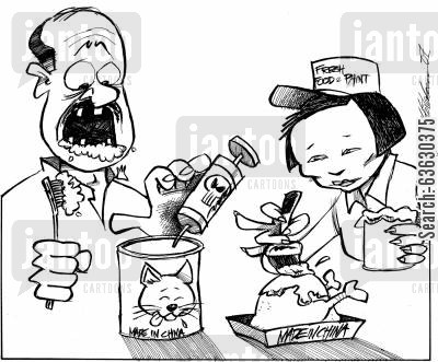 pet foods cartoon humor: Chinese goods and toxicity.