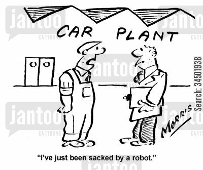 car plants cartoon humor: I've just been sacked by a robot.