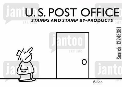 by products cartoon humor: US Post Office, Stamps and By Products.