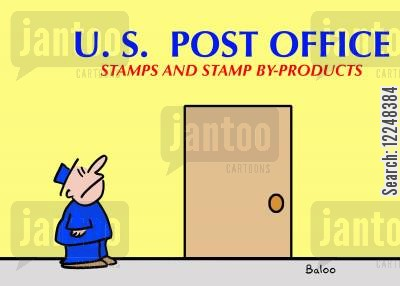 by products cartoon humor: US Post office,stamps and stamp by-products.
