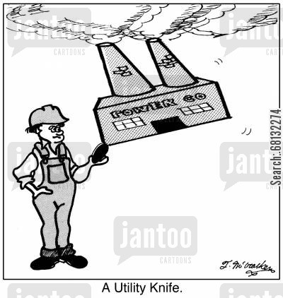 power company cartoon humor: A Utility Knife.