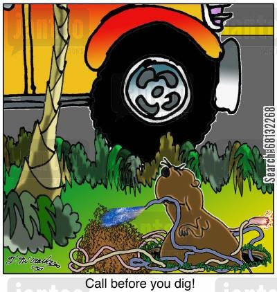 power company cartoon humor: Call before you dig!