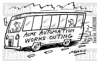 obsolescent cartoon humor: Acne Automation Works Outing