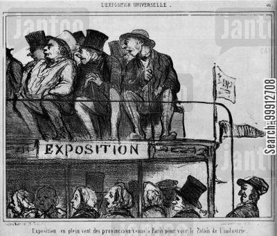 industrialisation cartoon humor: World Exhibition - Open air display of the countrypeople who have come to Paris to see the 'Palace of Industry'