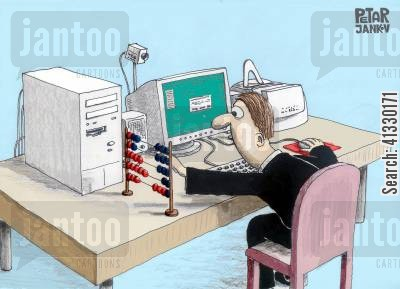 mod cons cartoon humor: Computer Add Ons.