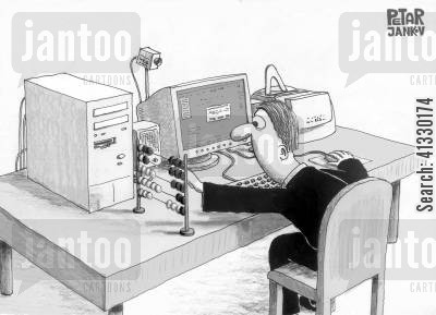mod cons cartoon humor: Computer add-on.