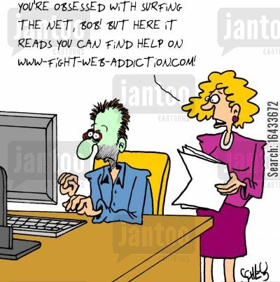 computer addicts cartoon humor: 'You're obsessed with surfing the net, Bob! But here it reads you can find help on www.-fight-web-addiction.com!'