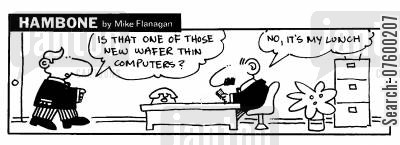 lunch time cartoon humor: STRIP Hambone: Wafer thin new computers