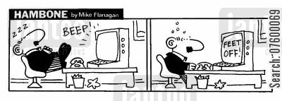 alarming cartoon humor: STRIP Hambone: Feet of keyboard alarm