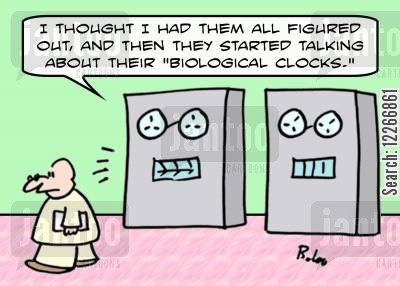 psycho analysts cartoon humor: 'I thought I had them all figured out, and then they started talking about their 'biological clocks.''
