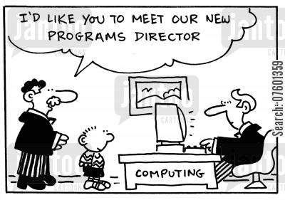 programs directors cartoon humor: 'I'd like you to meet our new programs director.'