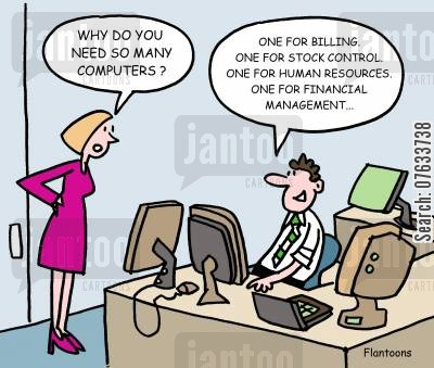 financial management cartoon humor: Why do you need so many computers?