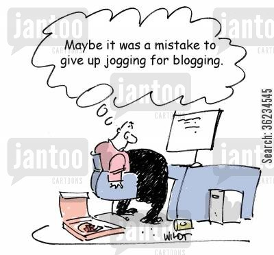 jogging cartoon humor: Maybe it was a mistake to give up jogging for blogging.