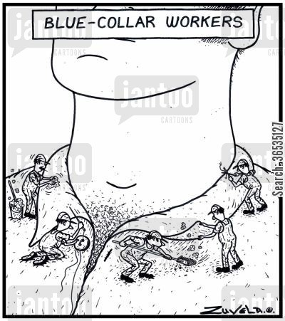 manual labourers cartoon humor: Blue-Collar Workers