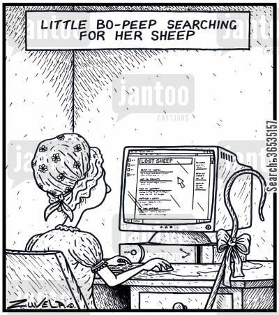 shepherdesses cartoon humor: Little Bo-Peep searching for her sheep.
