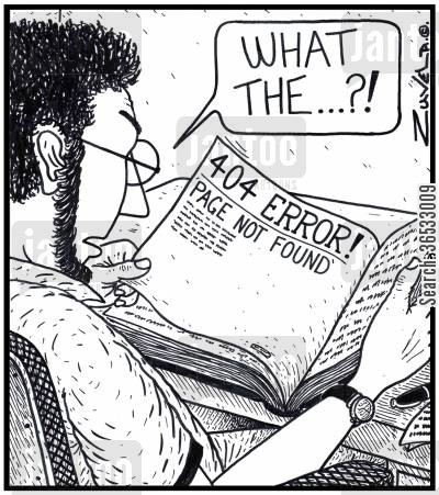 pages cartoon humor: 'What the...?!' 404 ERROR!