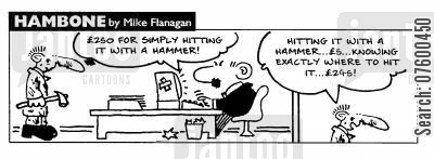repair bill cartoon humor: STRIP Hambone: Expensive repair bill