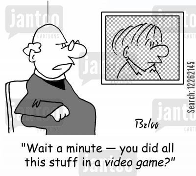 catholic churches cartoon humor: 'Wait a minute -- you did all this stuff in a VIDEO GAME?'