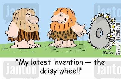 daisy wheel cartoon humor: 'My latest invention -- the daisy wheel!'