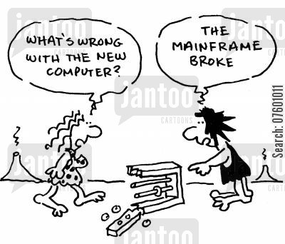 mainframe cartoon humor: Broken computer