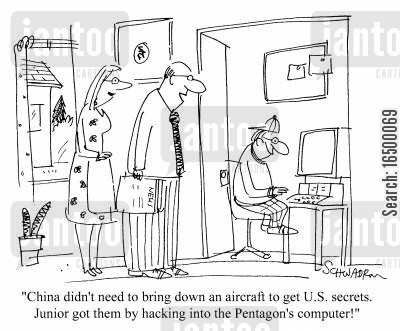 chinese migs cartoon humor: Child hacking into the US Pentagon