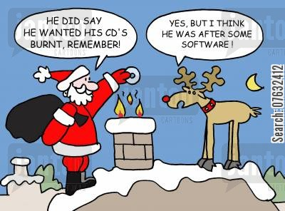 burning cds cartoon humor: He did say he wanted his cds burnt, remember? Yes, but I think he was after some software!