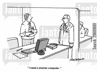 office cubicles cartoon humor: 'I need a smarter computer.'