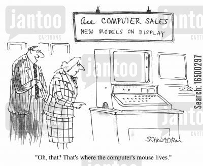 computer salesman cartoon humor: Computer mouse hole