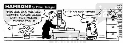 egg timer cartoon humor: STRIP Hambone: 'Its an egg timer'