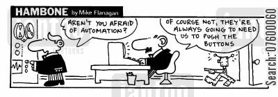 domination cartoon humor: STRIP Hambone: Afraid of Robot Automation