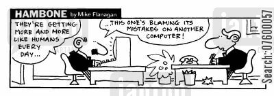 humanoid cartoon humor: STRIP Hambone: Humanoid computers