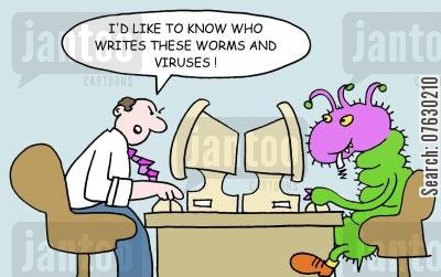 computer worm cartoon humor: 'I'd like to know who writes these worms and viruses!'