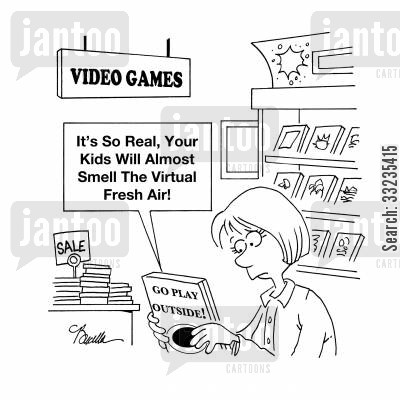play outside cartoon humor: Go Play Outside - it's so real, you kids will almost smell the virtual fresh air!