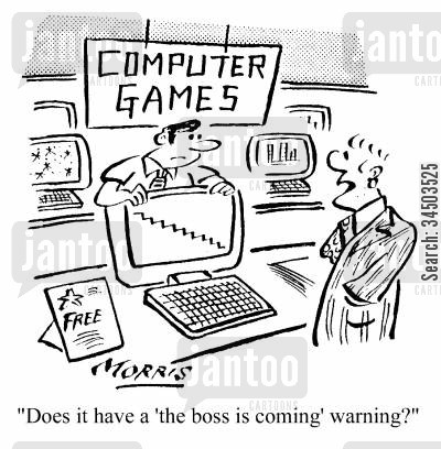 diversions cartoon humor: Does it have a 'the boss is coming' warning?