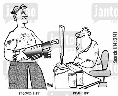 computer nerds cartoon humor: Second lifeReal life.