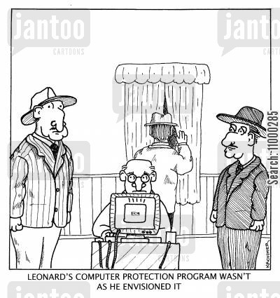 the mob cartoon humor: 'Leonard's computer protection program wasn't as he envisioned it.'