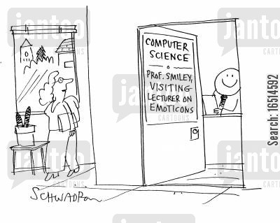 computer science cartoon humor: Computer Science - Prof Smiley, Visiting Lecturer on Emoticons.