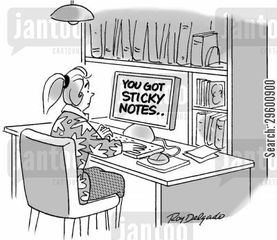 post its cartoon humor: 'You got sticky notes.'