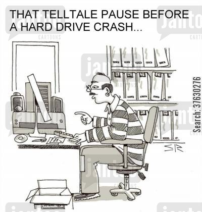 reboot cartoon humor: That telltale pause before a hard drive crash,