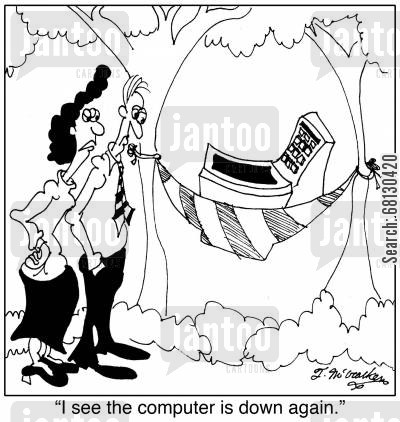 crashed computers cartoon humor: I see the computer is down again.