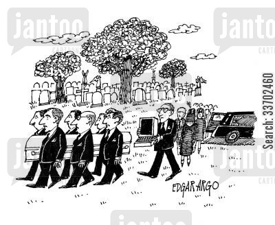 funeral procession cartoon humor: A funeral procession complete with computer.