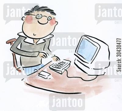 office juniors cartoon humor: Boy at Computer.